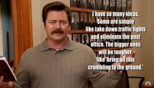 "Ron Swanson (Nick Offerman) from ""Parks and Recreation"""