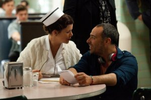 "Marcia Gay Harden and Landesman on the set of ""Parkland"""